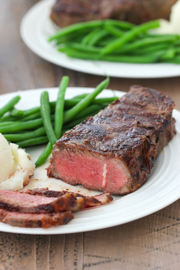 Grilled Steak, sliced, on a plate