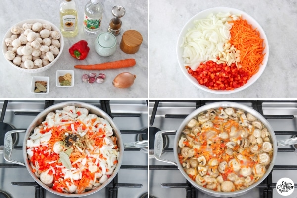 Tutorial of how to prepare marinated mushrooms with onion, carrots, bell pepper and garlic.
