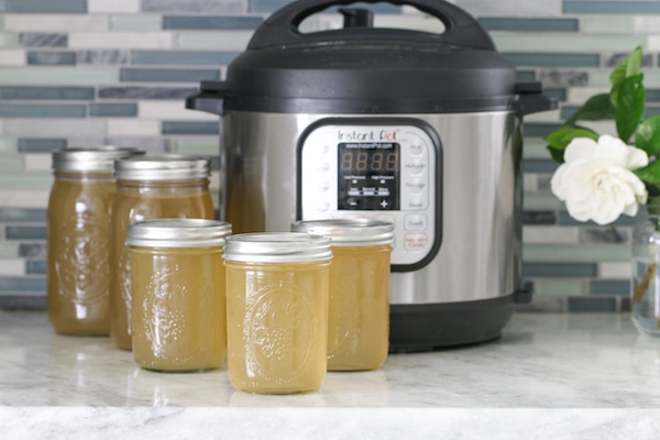 Instant Pot Chicken Broth in jars