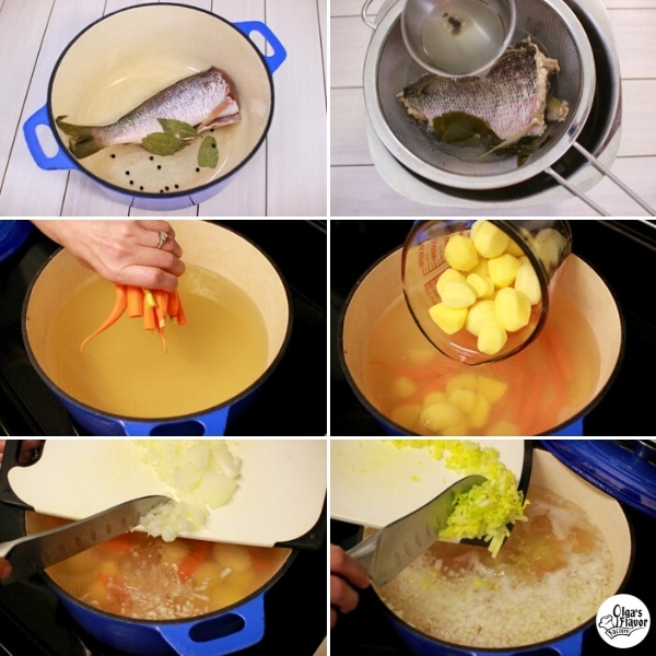 How to Cook Fish Soup With a Whole Fish, New Potatoes and Small Spring Carrots