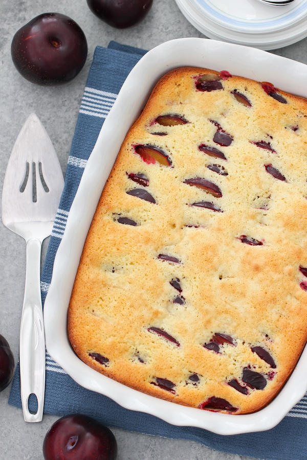 Plum Coffee Cake in a baking sheet, ready to be served