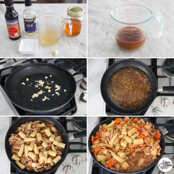 How to make home made stir fry sauce with broth, soy sauce, mirin, honey and cornstarch.