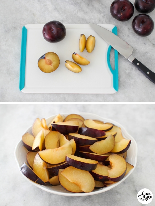 slicing plums for baking