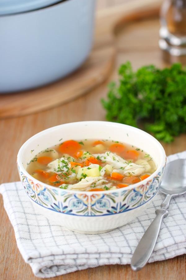 A bowl of Russian fisherman soup Ukha