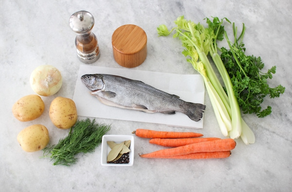 Ingredients for Ukha, Russian Fish Soup