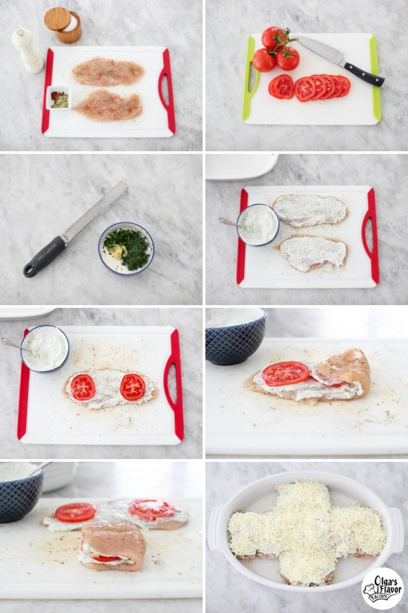 Tutorial of how to prepare Cheesy Baked Tomato and Herb Stuffed Chicken Rolls