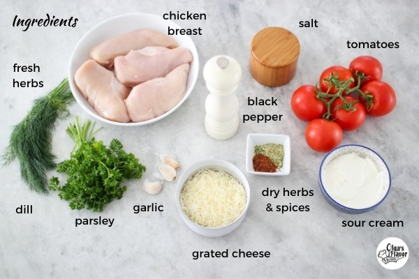 Ingredients for Baked Cheesy Tomato and Herb Stuffed Chicken Rolls