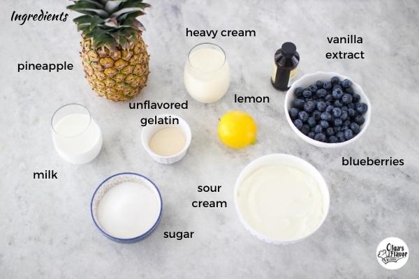 Ingredients for Blueberry, Pineapple Lemon Pana Cotta