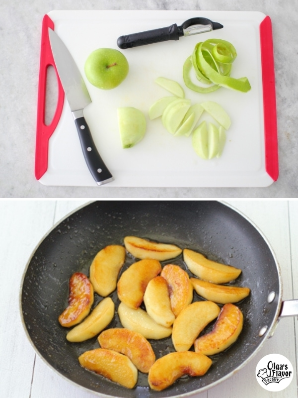 Cooking apples in a skillet for salad