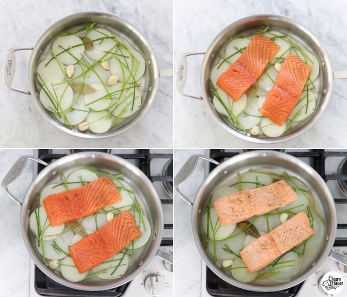 How to poach salmon fillets in white wine, onions, garlic and parsley