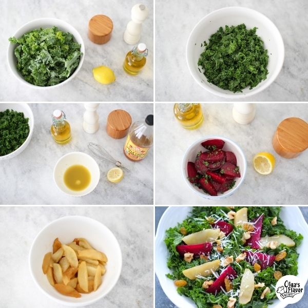 Step by step photo tutorial of how to make a kale salad with roasted beets, apples, walnuts and raisins