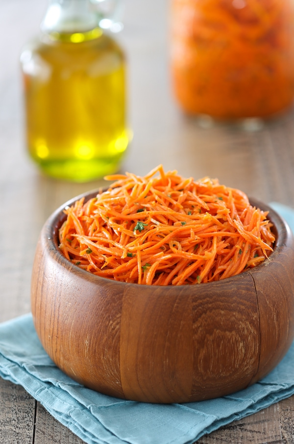 Russian Carrot Salad, also called Korean Carrots is a carrot salad flavored with onions, garlic and coriander.