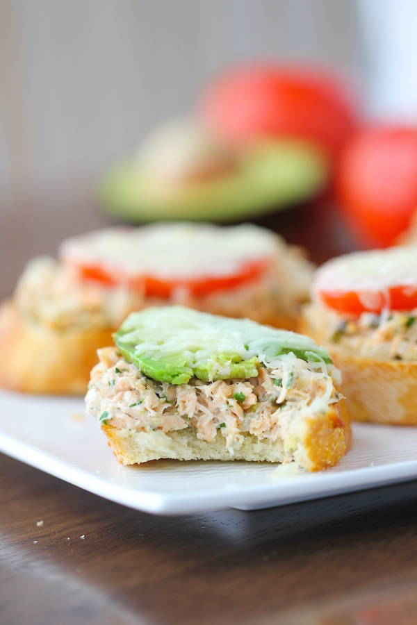 Salmon Melts - appetizer sandwiches with salmon, tomatoes, avocados and cheese