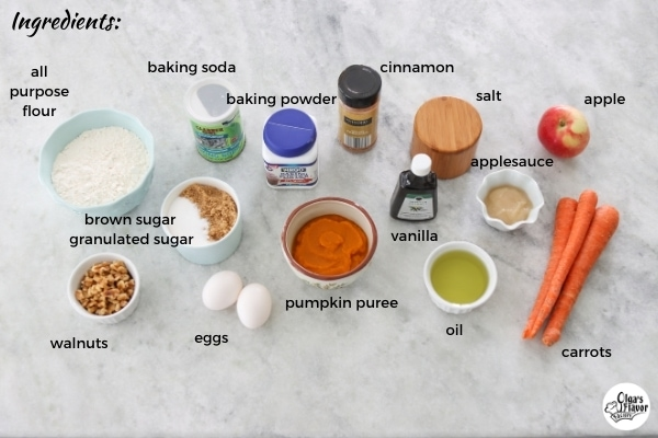 Ingredients For Pumpkin, Carrot and Apple Muffins with Crumb Topping