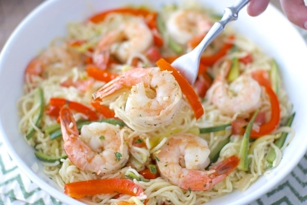 Shrimp and Vegetable Pasta on a plate