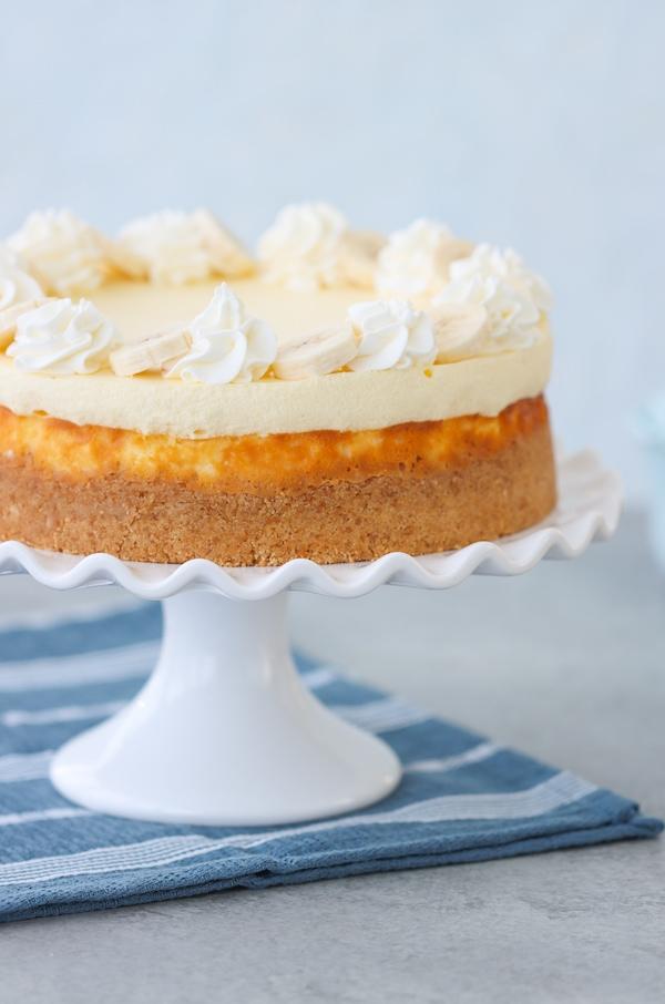 Banana Cream Cheesecake, vanilla wafer crust cheesecake topped with Bavarian cream, fresh bananas and whipped cream.