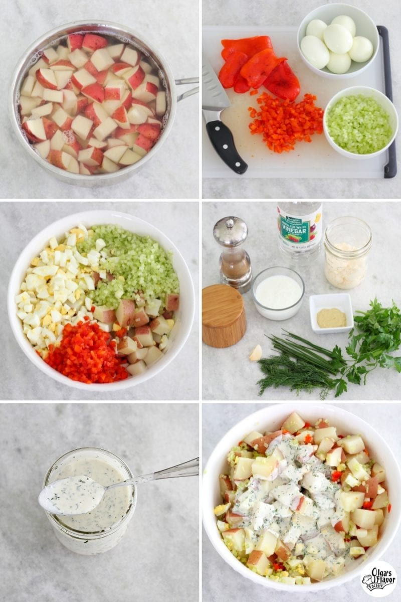 Tutorial of how to make Potato Salad with homemade Ranch dressing.
