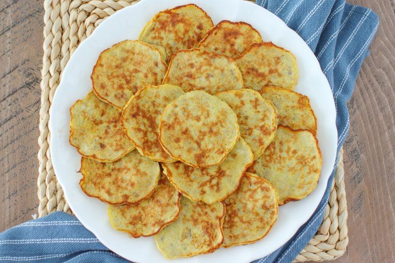 A plate of banana egg pancakes