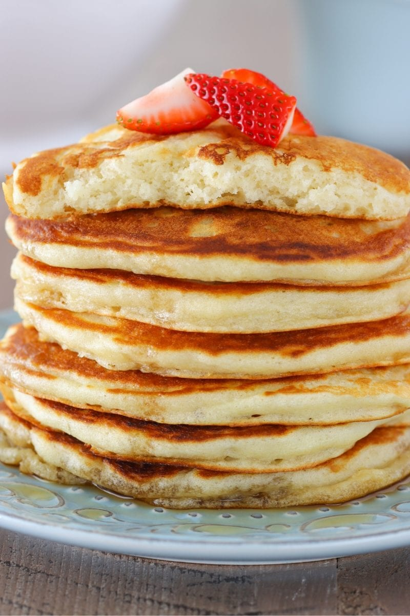 Close up shot of fluffy buttermilk pancakes.