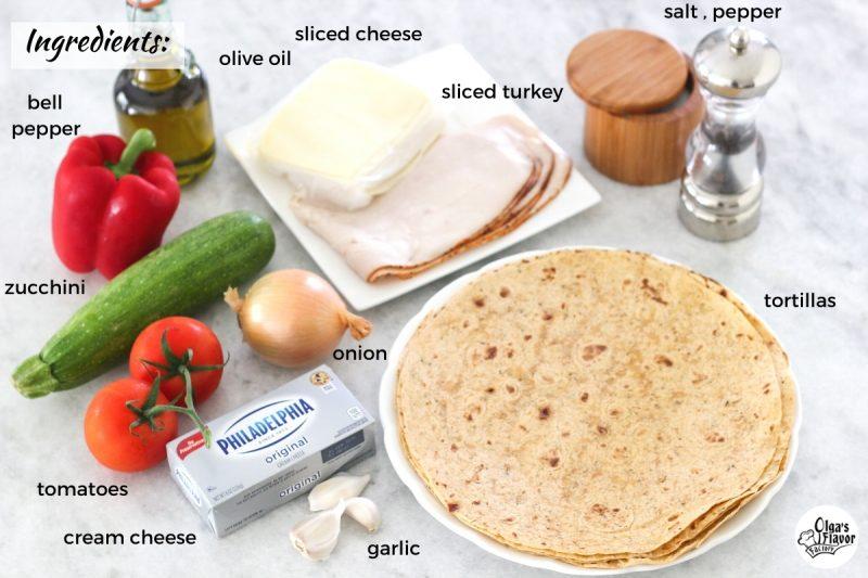 Ingredients for turkey pinwheels