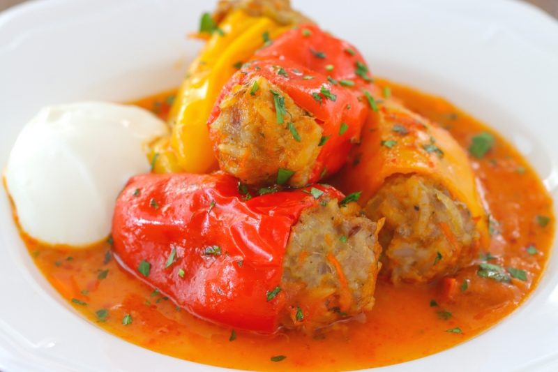 Stuffed mini peppers with sour cream and tomato sauce