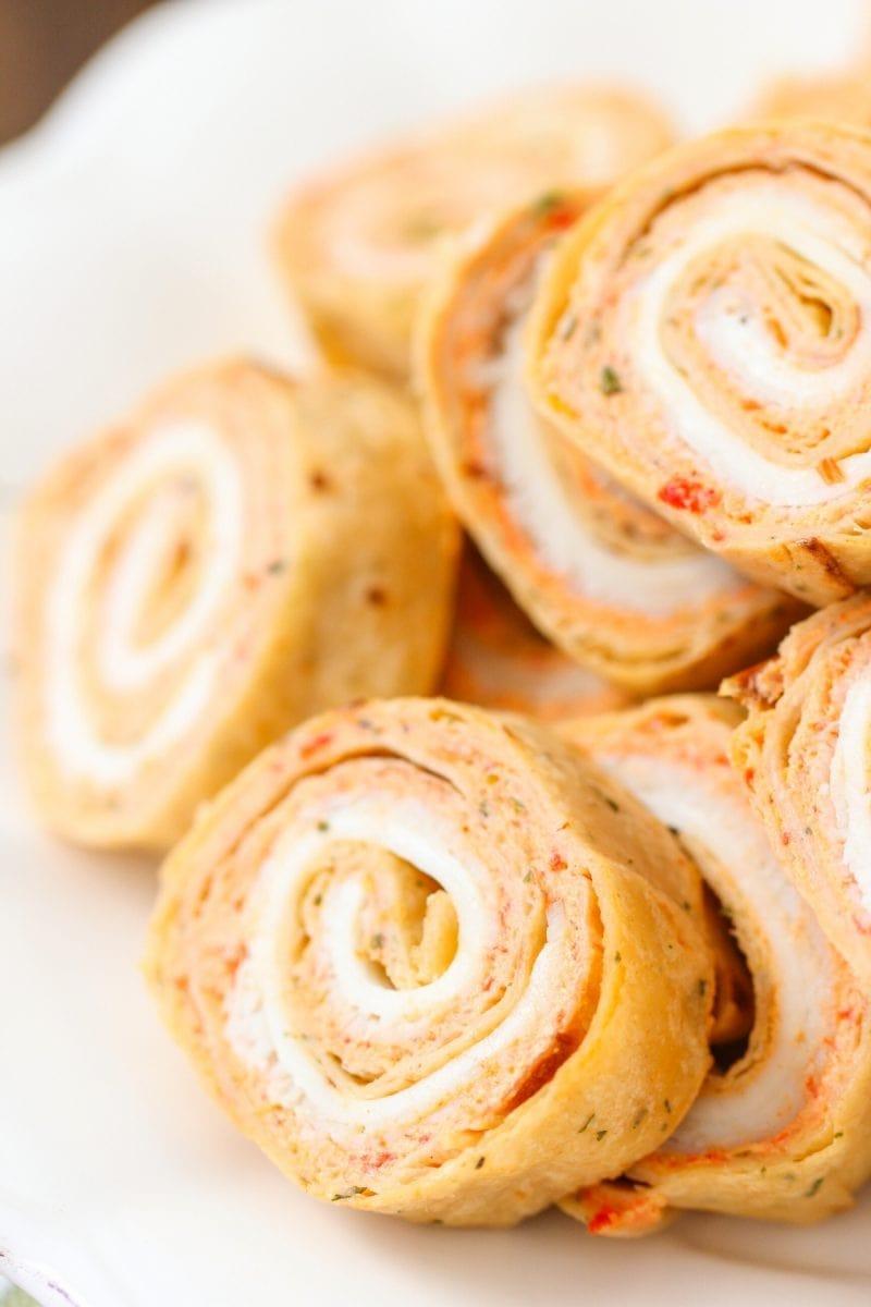 turkey pinwheels - tortillas with veggie cream cheese spread, turkey and cheese