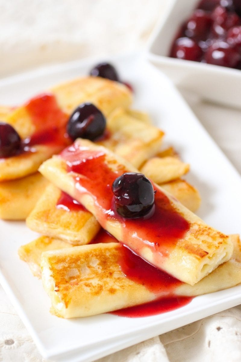 Cheese Blintzes with a cherry sauce
