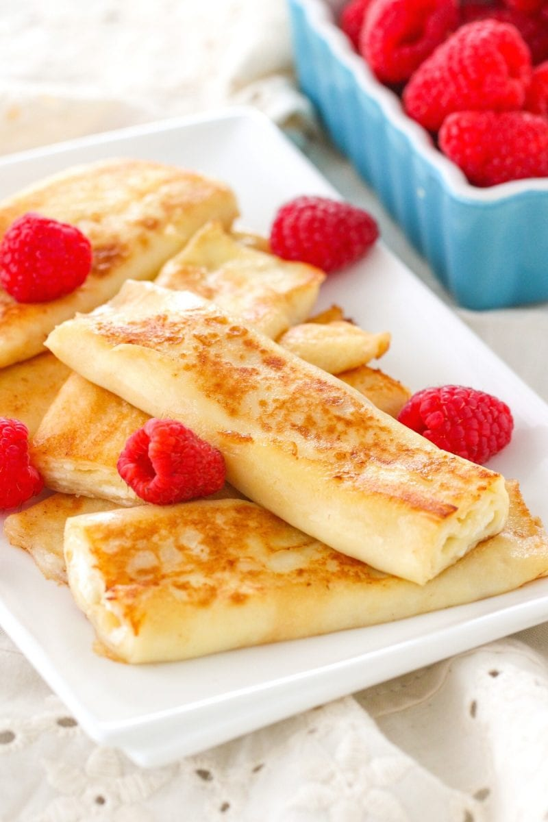 Cheese blintzes with raspberries
