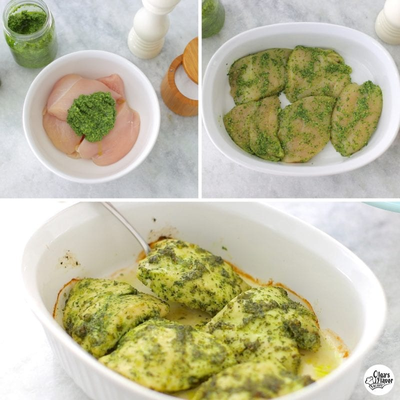 How to make pesto chicken. Marinate chicken in pesto sauce and bake. One of the easiest recipes for baked chicken.