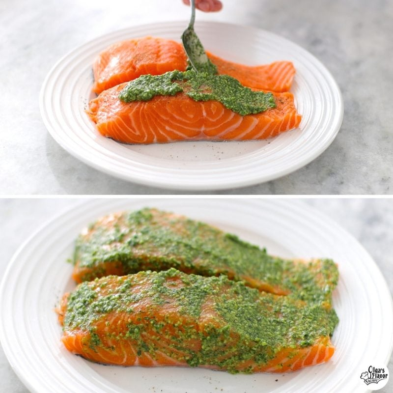 How to make baked salmon with pesto sauce.