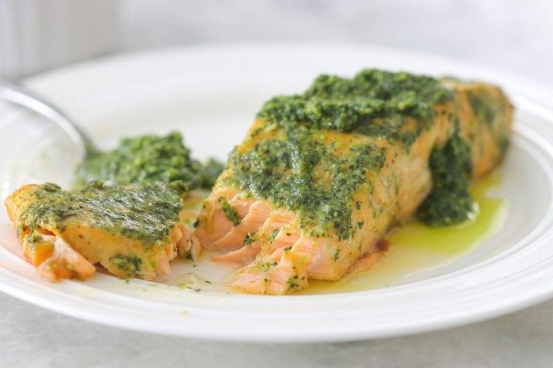 Oven Baked Pesto Salmon