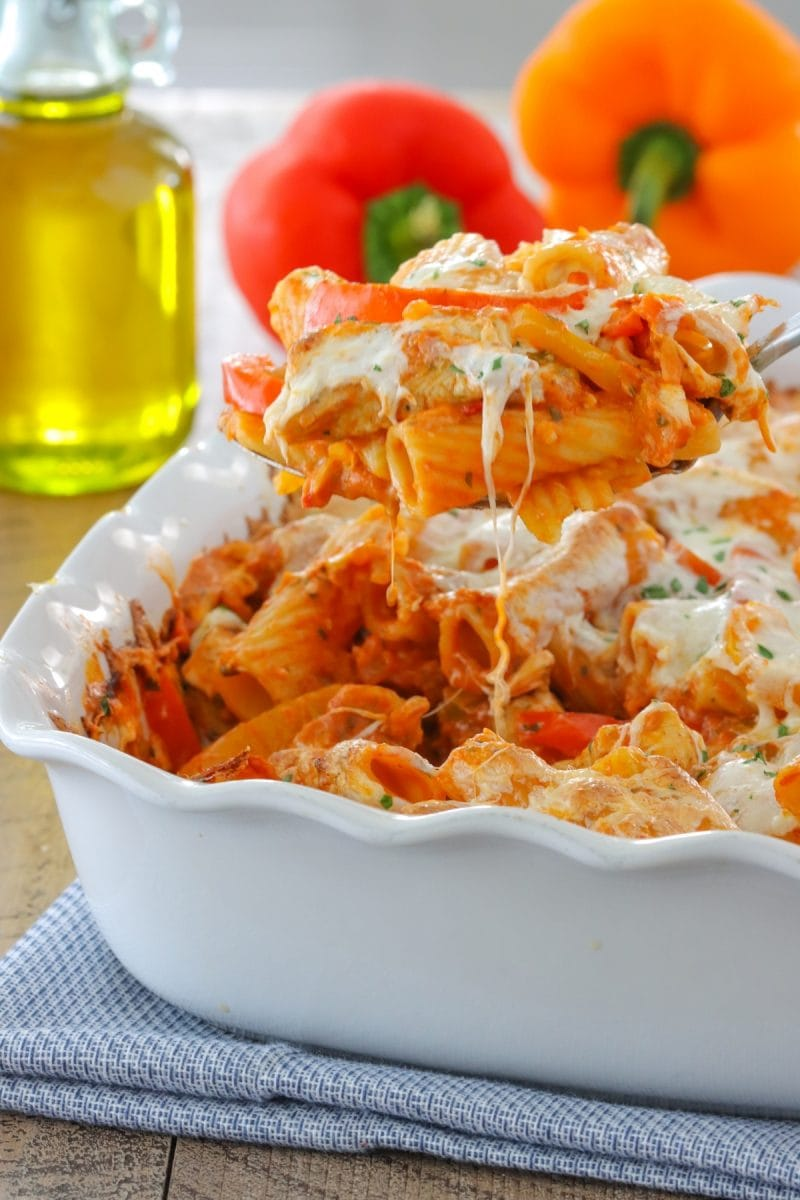 Chicken Riggies baked in the oven, topped with cheese.
