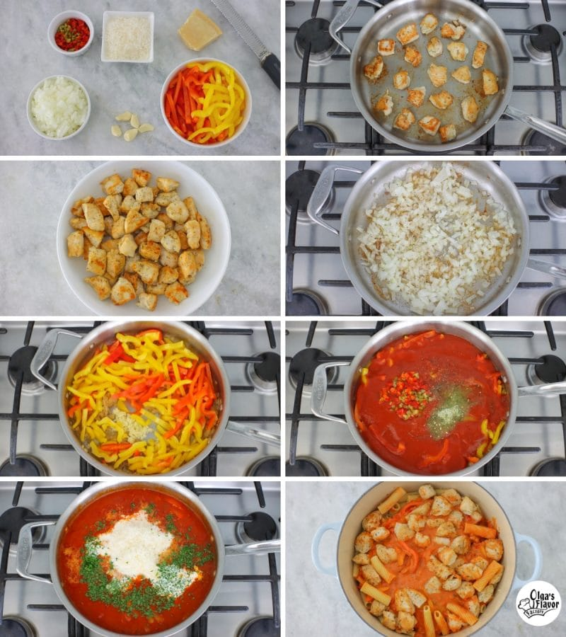 How to make chicken riggies, a pasta dish with chicken, bell peppers and a creamy pink sauce.