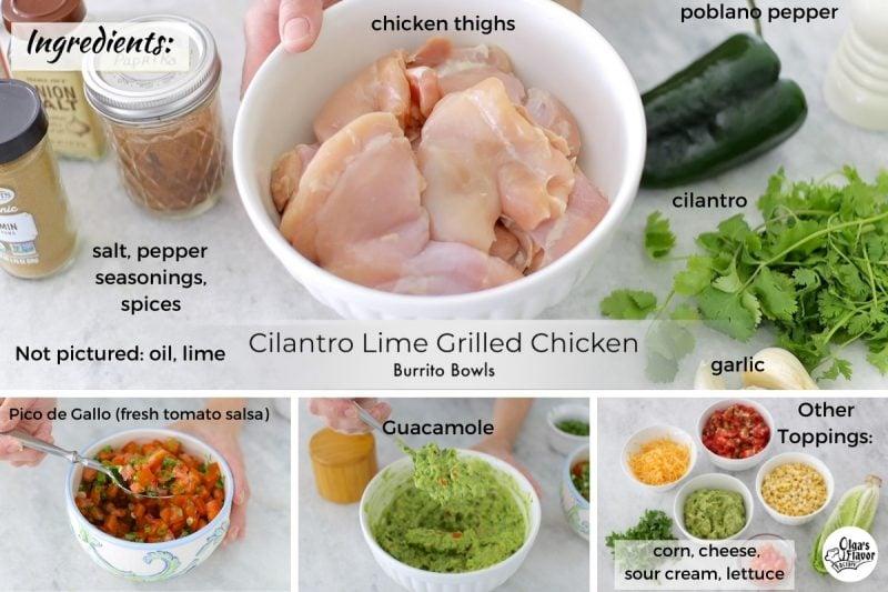 Ingredients For Chicken Burrito Bowls