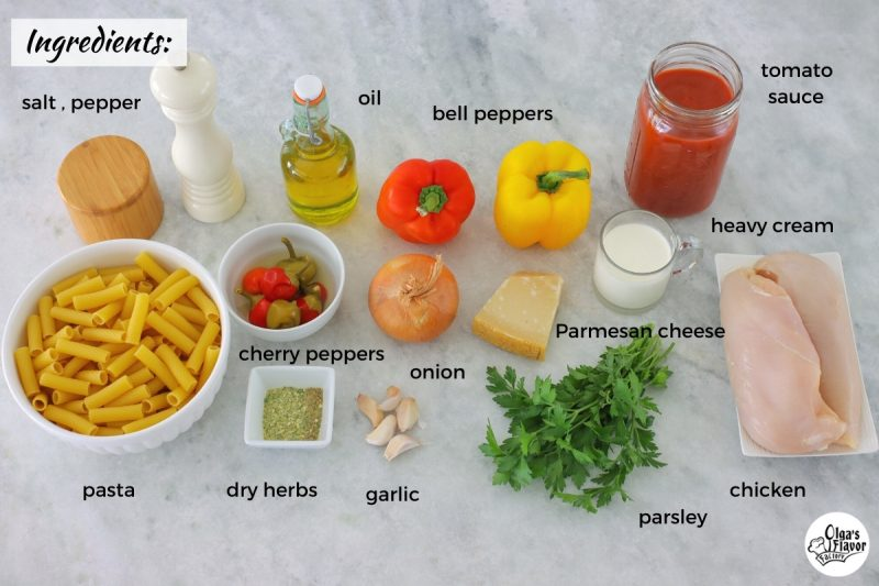 Ingredients for Chicken Riggies