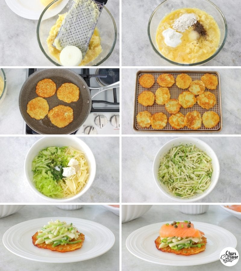 How to make potato pancake appetizers with apple celery slaw, smoked salmon, capers and green onions.