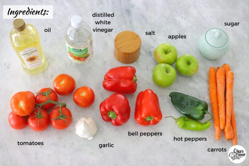 Ingredients for Adjika