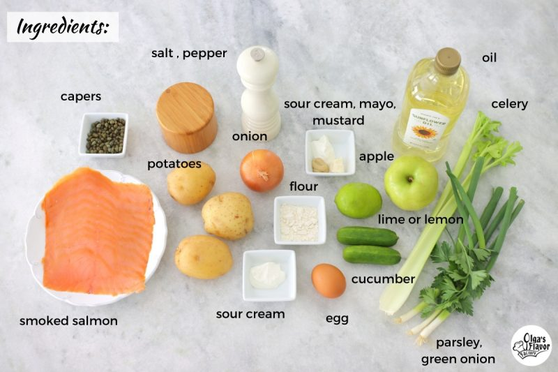 Ingredients for Potato Pancake Appetizers with apple celery slaw, smoked salmon, capers and green onion.