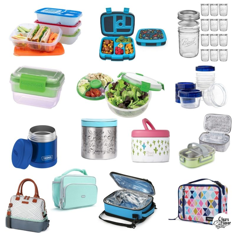 Lunch containers: lunch boxes, thermoses, bento style lunch boxes, meal containers