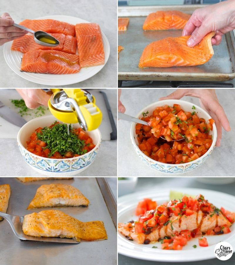 Oven roasted salmon recipe tutorial served with a fresh tomato basil topping