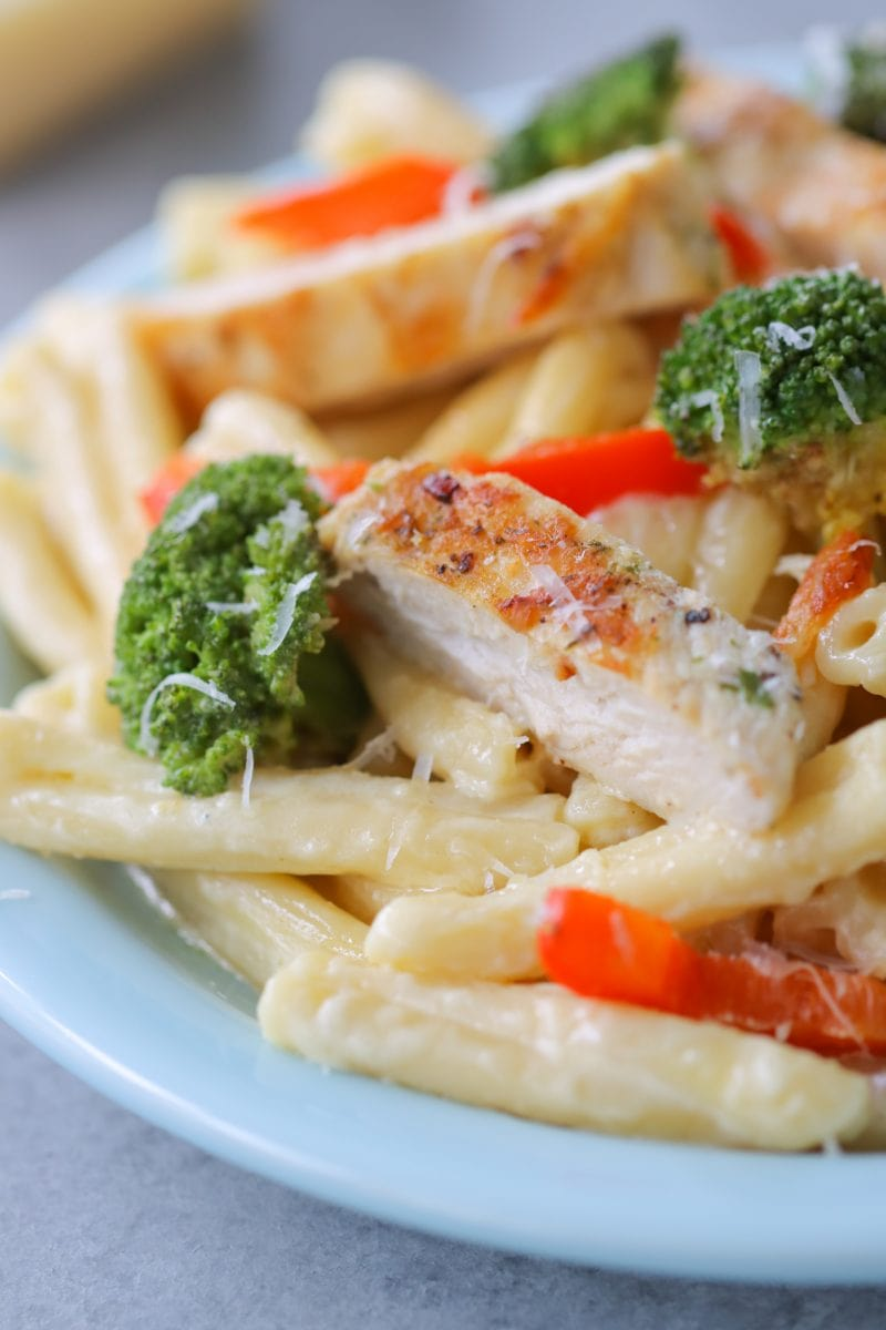 Chicken Alfredo Pasta with broccoli and bell peppers
