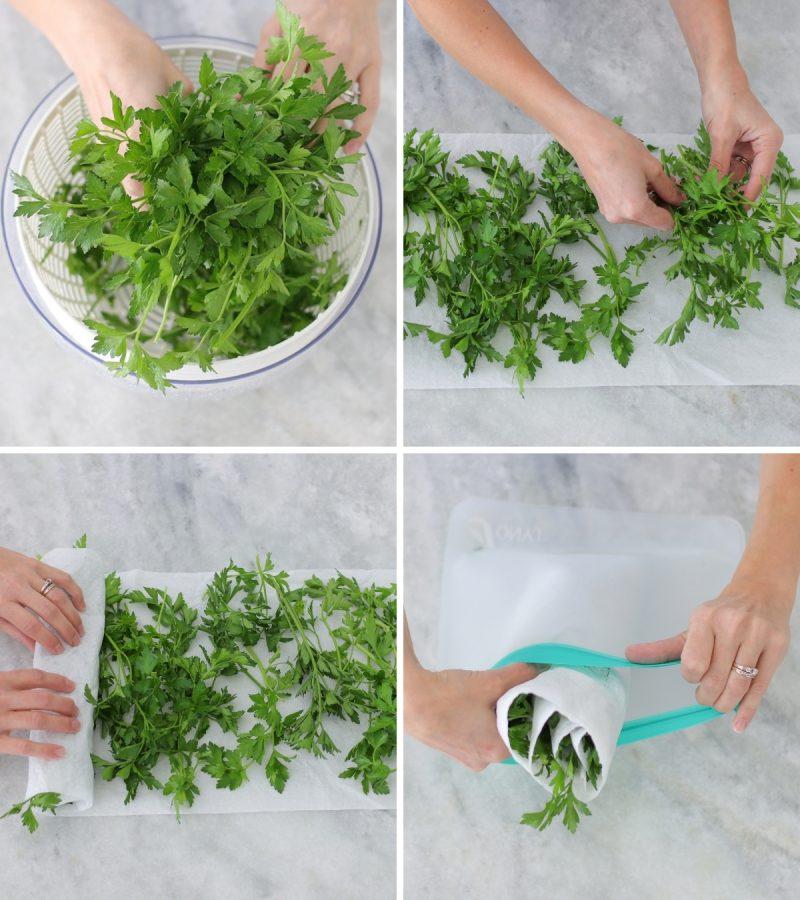 tutorial how to store fresh herbs, like parsley.