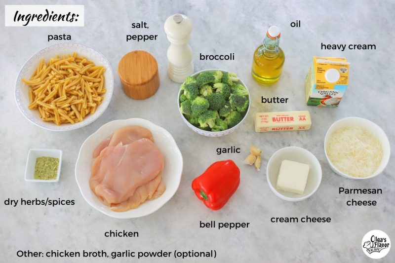 Ingredients for Chicken Alfredo Pasta with broccoli and bell pepper